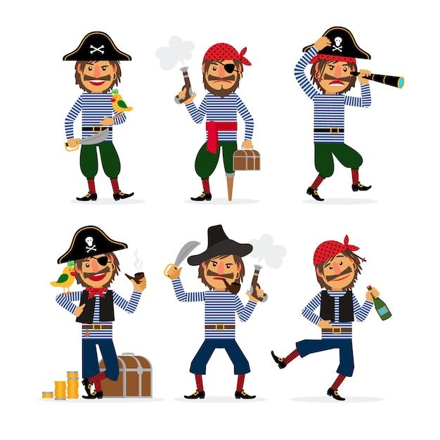 Cartoon piratenfiguren mit pistole und rum und papagei Premium Vektoren