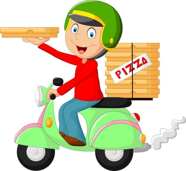 Cartoon-pizza-lieferjunge reiten motorrad Premium Vektoren