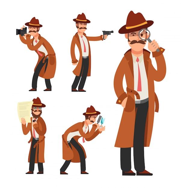 Cartoon-privatdetektiv. polizeiinspektor-zeichensatz Premium Vektoren