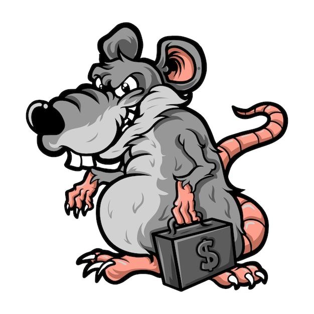 Cartoon ratten korruption Premium Vektoren