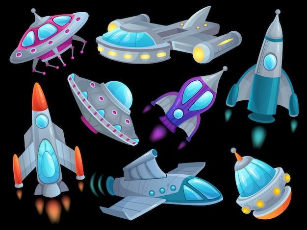 Cartoon raumschiff. futuristische weltraumraketenfahrzeuge, ausländisches flugraumfahrzeug-schiffs-ufo und raumfahrtraketenschiff lokalisierten satz Premium Vektoren