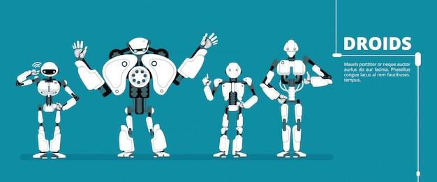 Cartoon roboter android, cyborg-gruppe. futuristische illustration des vektors der künstlichen intelligenz Premium Vektoren