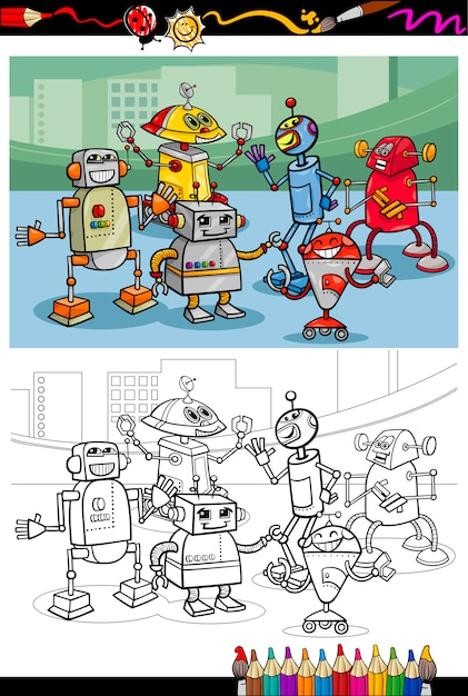 cartoon roboter gruppe malvorlagen  premiumvektor