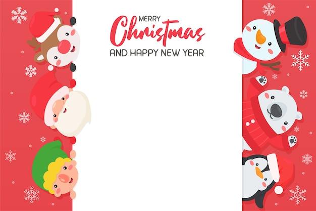 Cartoon santa und freunde kommen zusammen, um weihnachten zu feiern lassen sie platz für das hinzufügen von text. Premium Vektoren