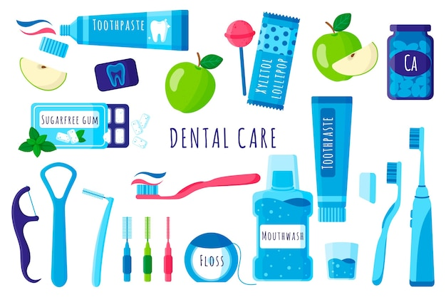 Cartoon-satz von zahnärztlichen werkzeugen für mund- und zahnpflege: zahnbürste, zahnpasta, zahnseide usw. auf weißem hintergrund. Premium Vektoren