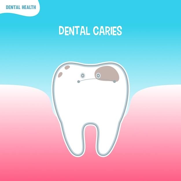 Cartoon schlechte zahnsymbol mit zahnkaries Premium Vektoren