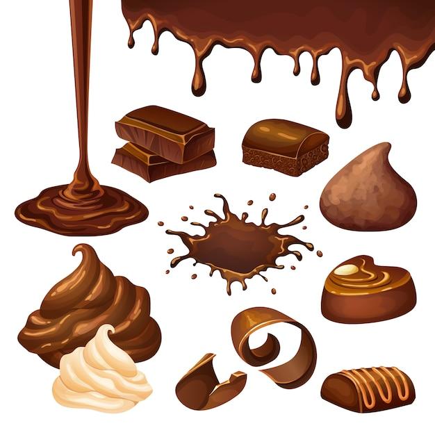 Cartoon schokoladenelemente set Kostenlosen Vektoren