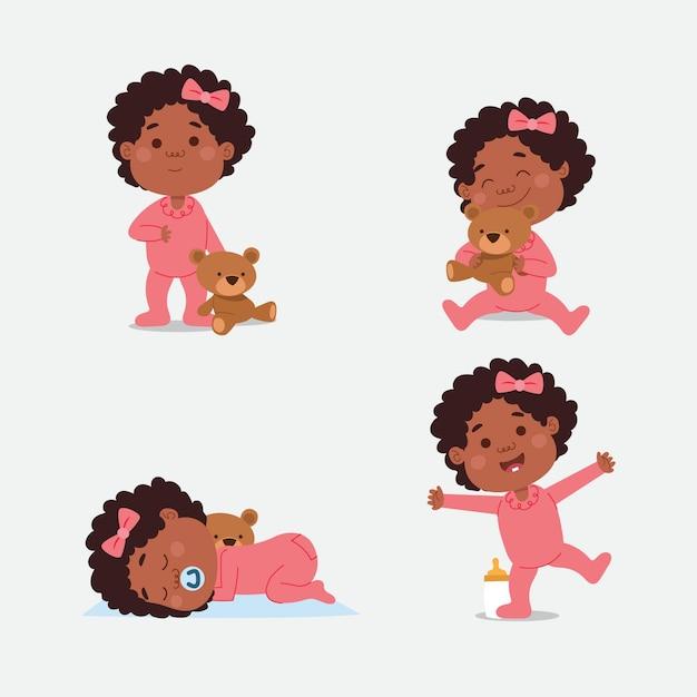 Cartoon schwarze babysammlung Kostenlosen Vektoren
