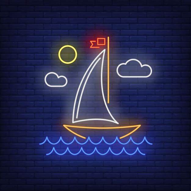 Cartoon segelschiff leuchtreklame. schiff, reise, abenteuer. Kostenlosen Vektoren