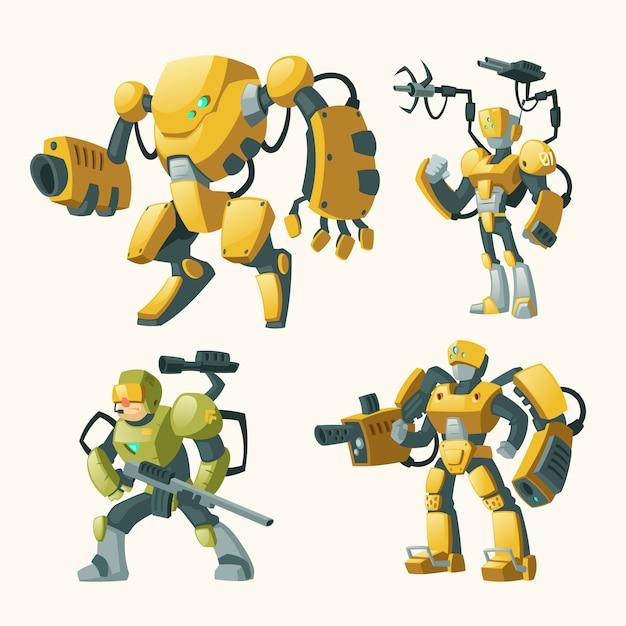 Cartoon-set mit androiden, menschliche soldaten in roboter-exoskeletten mit waffen Kostenlosen Vektoren