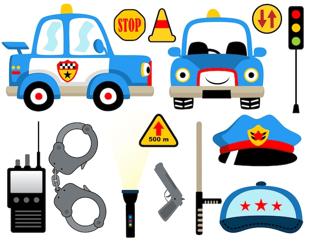 Cartoon-set von polizeistreifen ausrüstung Premium Vektoren