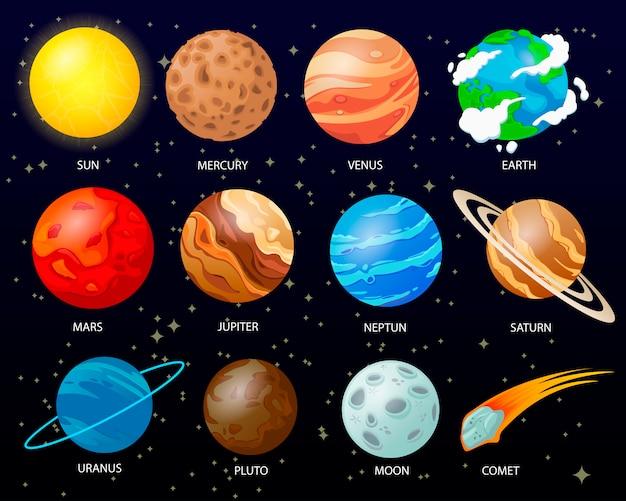 Cartoon sonnensystem planeten Premium Vektoren