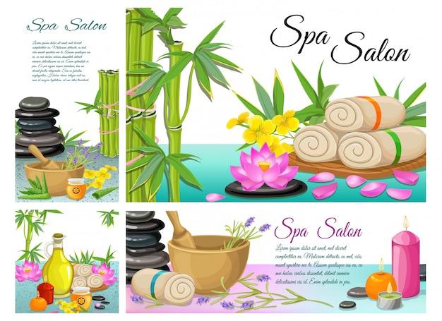 Cartoon spa salon zusammensetzung mit steinen bambus handtücher lotusblume mörtel aroma kerzen aloe vera natürliches olivenöl Kostenlosen Vektoren