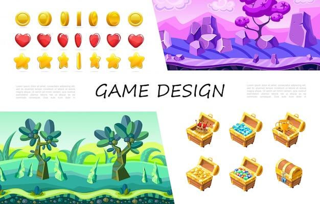 Cartoon-spiel design ui-komposition mit kreis herz stern knöpfe krone edelsteine juwelen goldmünzen tasse in schatztruhe fantasie naturlandschaft Kostenlosen Vektoren