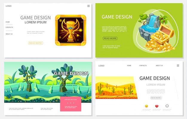 Cartoon-spiel-design-websites mit trophäenschatzkiste aus goldmünzen wasserfall fantasie tropische und wüstenlandschaften Premium Vektoren