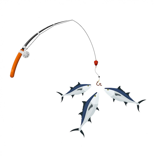 Cartoon-stil. spinning pack und thunfisch. illustration der erfolgreichen fischerei auf thunfisch. symbol hobbys und kostenlose freizeiteinrichtungen Premium Vektoren