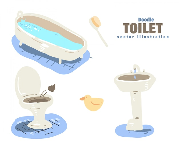 Cartoon-stil toilette gekritzel. toilette Premium Vektoren