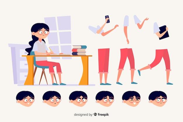 Cartoon student charakter für bewegungsdesign Kostenlosen Vektoren