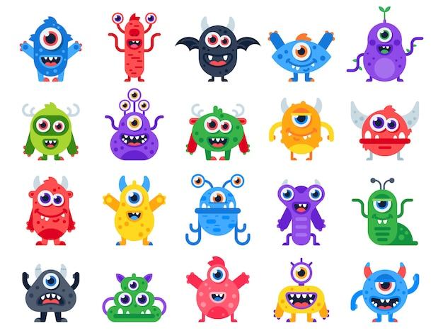 Cartoon süß und glücklich monster. halloween-maskottchen Premium Vektoren