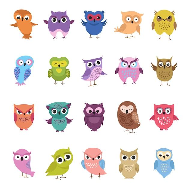 Cartoon süße eulen gesetzt. lustige und verärgerte vogelsammlung Premium Vektoren
