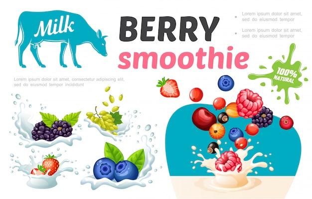 Cartoon süße gesunde smoothies vorlage mit natürlichen frischen beeren in milch und sahne spritzt Premium Vektoren
