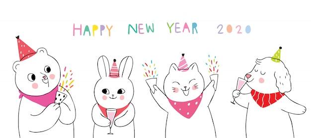 Cartoon süße tiere feiern frohes neues jahr Premium Vektoren