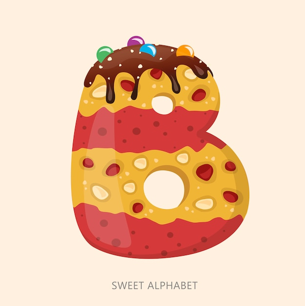 Cartoon süßigkeiten alphabet. buchstabe b. Premium Vektoren