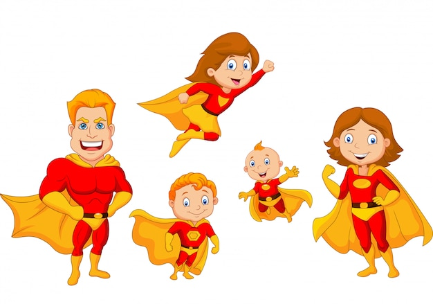 Cartoon-superhelden-sammlung Premium Vektoren