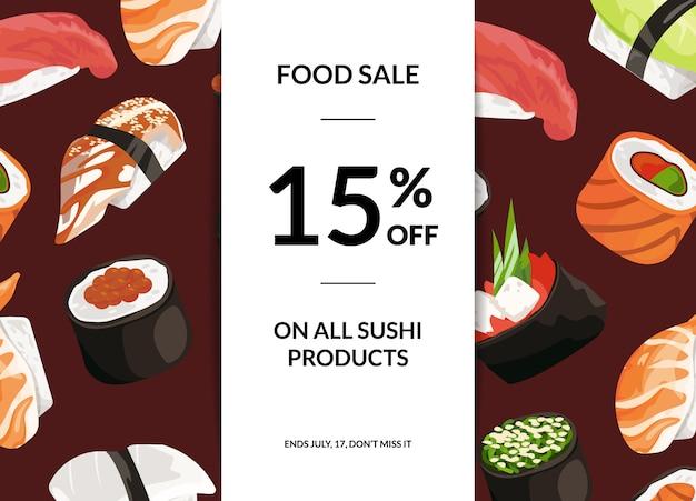 Cartoon sushi verkauf horizontale banner Premium Vektoren