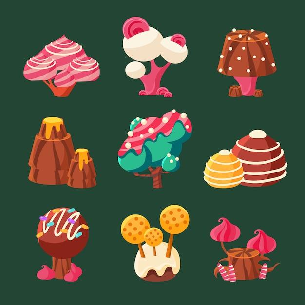 Cartoon sweet candy land. illustration Premium Vektoren