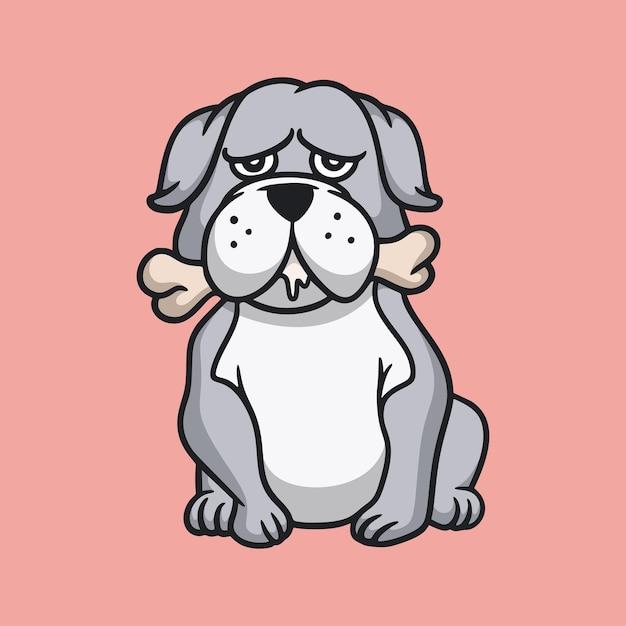 Cartoon tier design bulldogge isst ein knochen niedlichen maskottchen logo Premium Vektoren