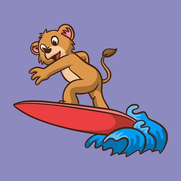 Cartoon tier kinder löwe surfen niedlichen maskottchen logo Premium Vektoren