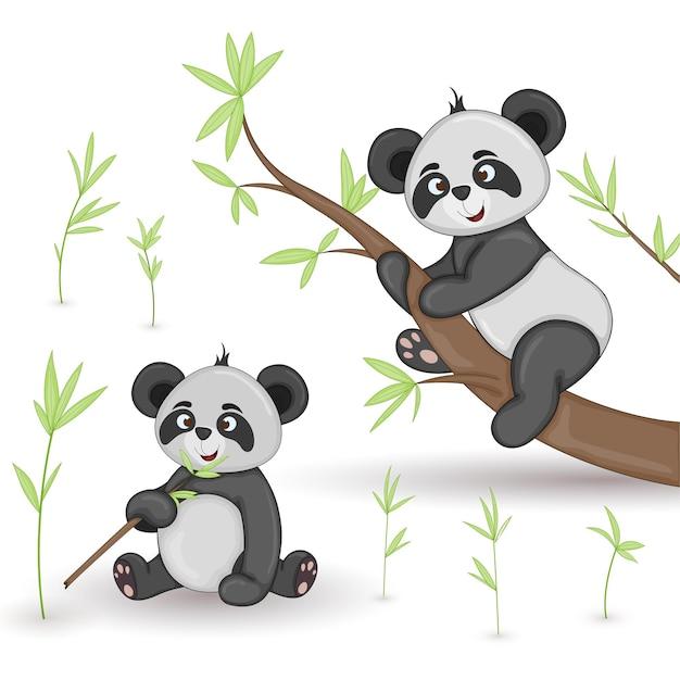 Cartoon tiere panda. Premium Vektoren