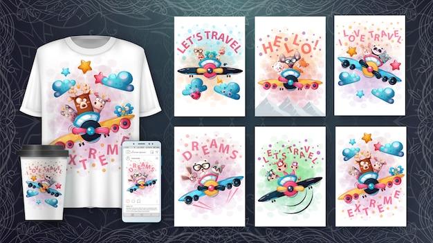 Cartoon tiere poster und merchandising Premium Vektoren