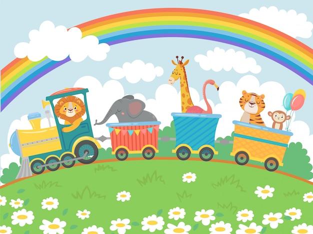 Cartoon tiere reisen. zoo zug, niedliche tierzüge reise und lustige haustiere reisen auf lokomotive vektor hintergrund illustration Premium Vektoren