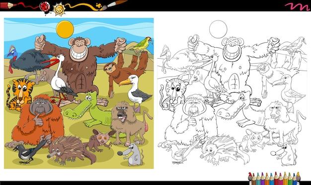 Cartoon tierfiguren gruppe malbuch seite Premium Vektoren