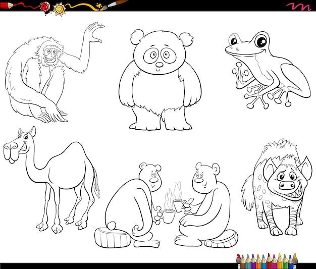 Cartoon tierfiguren set malbuch seite Premium Vektoren