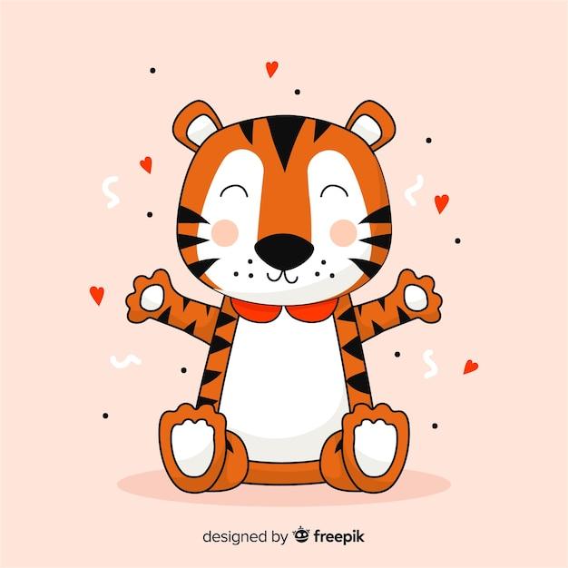 Cartoon tiger hintergrund Kostenlosen Vektoren