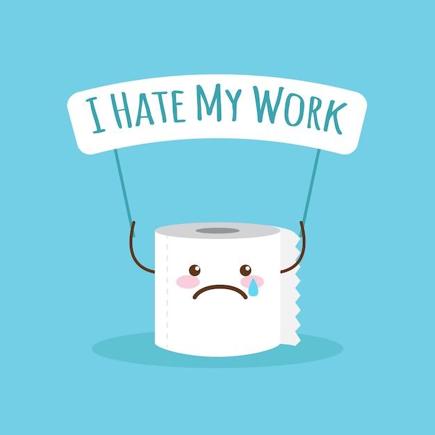 Cartoon toilettenpapier mit zitat über die arbeit Premium Vektoren