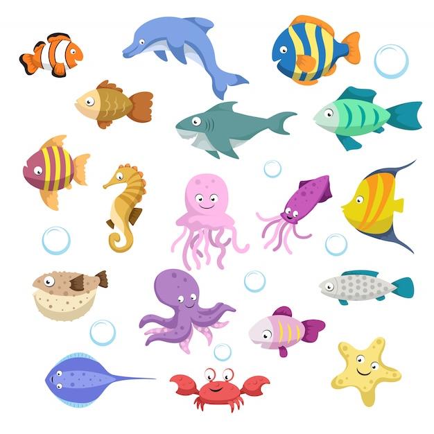 Cartoon trendige bunte rifftiere großes set. fische, säugetiere, krebstiere. delfine und haie, tintenfische, krabben, seesterne, quallen. tropische riffkorallen wild lebende tiere. Premium Vektoren