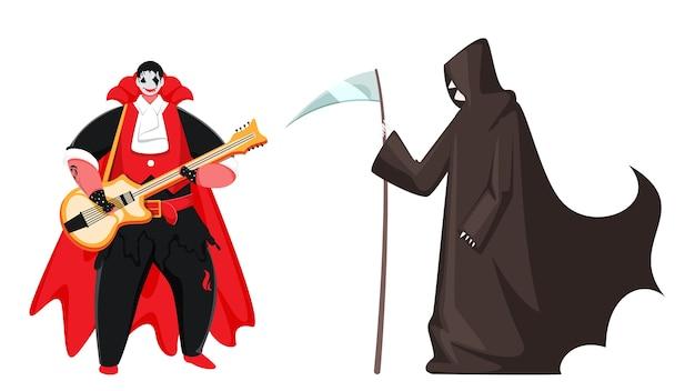 Cartoon vampire man spielt gitarre und sensenmann charakter auf weißem hintergrund. Premium Vektoren