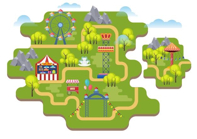 Cartoon vergnügungspark karte hintergrund. Premium Vektoren