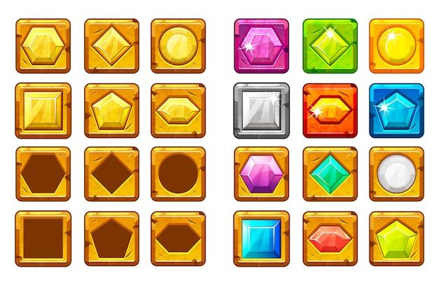 Cartoon verschieden geformte edelsteine, mehrfarbiger und goldener knopf für ui-spiel Premium Vektoren