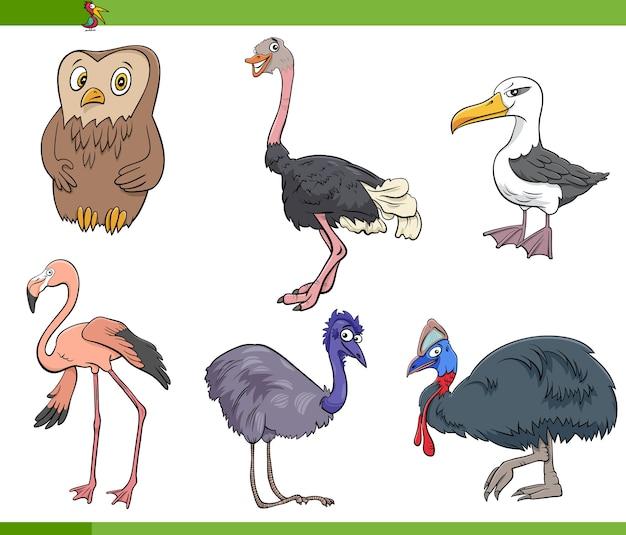 Cartoon vögel arten tier zeichen gesetzt Premium Vektoren