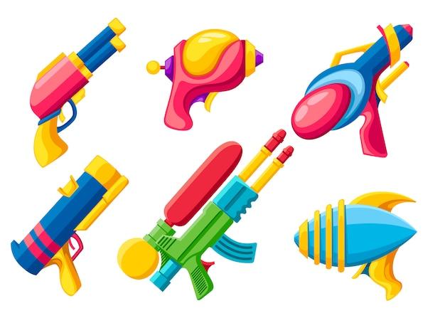 Cartoon waffensammlung. bunte spielzeuge. weltraumlaserpistolen. vektorillustration auf weißem hintergrund Premium Vektoren