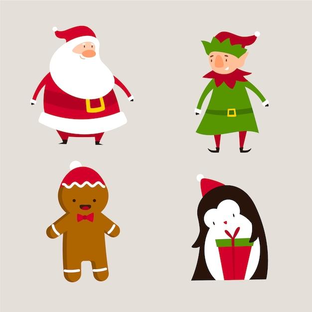 Cartoon weihnachten zeichen sammlung Kostenlosen Vektoren