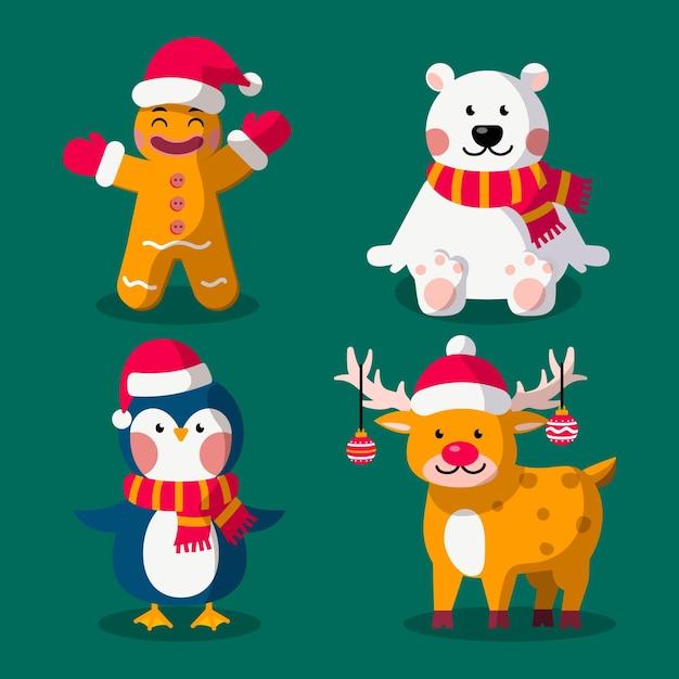 Cartoon weihnachtsfiguren sammlung Kostenlosen Vektoren