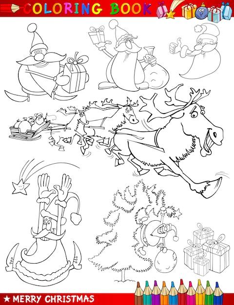 Weihnachtsmotive Ausmalen.Cartoon Weihnachtsmotive Zum Ausmalen Download Der Premium Vektor