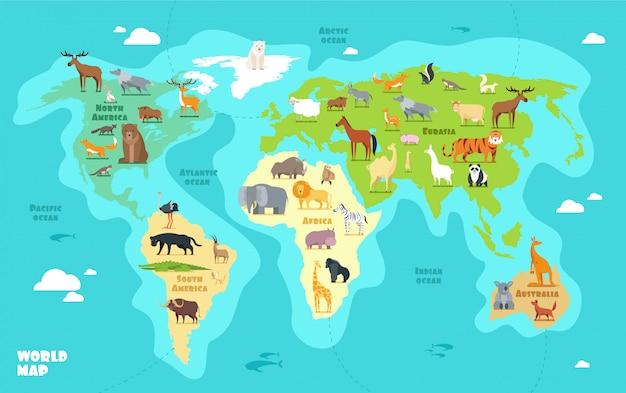 Cartoon-weltkarte mit tieren, ozeanen und kontinenten. Premium Vektoren
