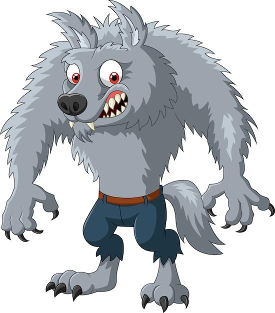 Cartoon wütend werwolf charakter Premium Vektoren